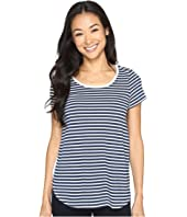 Mod-o-doc - Heather Yarn Dye Stripe Short Sleeve Tee w/ Back Contrast