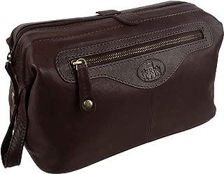 Rowallan of Scotland Rowallan Vintage Leather Wash Bag Travel Toiletries Brown