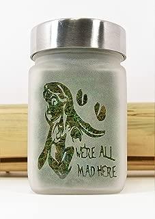Stash Jar - Alice in Wonderland & Cheshire Cat - Weed Accessories, Stoner Girl Gifts & Stash Jars - Ganja Gifts, Weed Jars - Stoner Accessories by Twisted420Glass