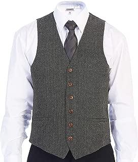 Men's 6 Button Slim Fit Formal Herringbone Tweed Vest