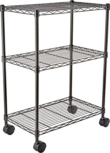"Amazon Basics 3-Shelf Heavy Duty Shelving Storage Unit on 2"" Wheel Casters, Metal Organizer Wire Rack, Black (23.2L x..."