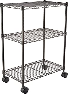 AmazonBasics - Estantería de 3 baldas, con ruedas - Negro