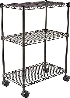 comprar comparacion AmazonBasics - Estantería de 3 baldas, con ruedas - Negro