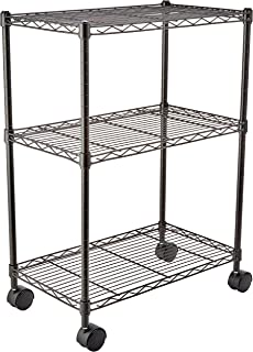 AmazonBasics 3-Shelf Shelving Storage Unit on Wheels, Metal Organizer Wire Rack, Black