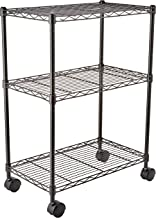 AmazonBasics Height Adjustable 3-Shelves Heavy Duty Rack with Wheels- Black
