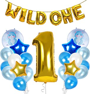 Treasures Gifted First Birthday Boy Decorations 1st Gold Blue Party Supplies Wild One Banner 1 Foil Balloon