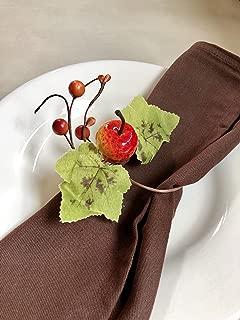 Angel Isabella, LLC Fall Themed Napkin Rings: Harvest Maple Fruit Pumpkin Theme Thanksgiving Dinner Fall Gathering (6pc Apple)