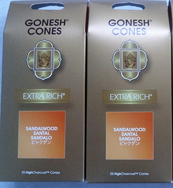 Gonesh Incense Cones Sandalwood Set Of 2 Packs Of 25 Total 50