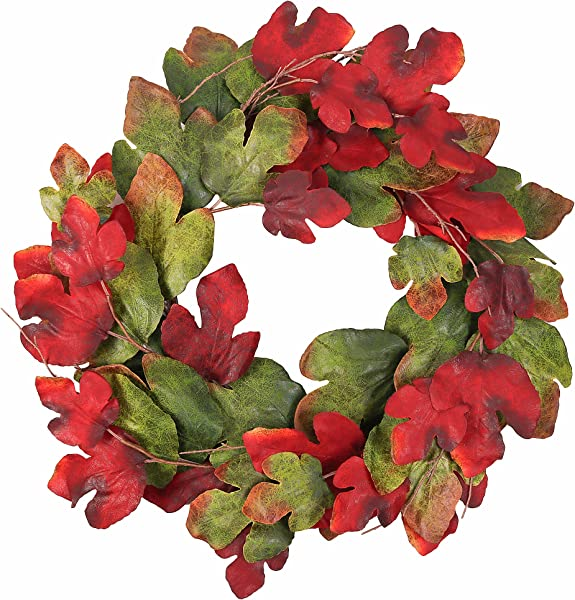 Wreath Maple Leaves Garland Artificial Round Front Door Wall Window Decoration Rich Colors Home Deco 33 Inches Dark Green