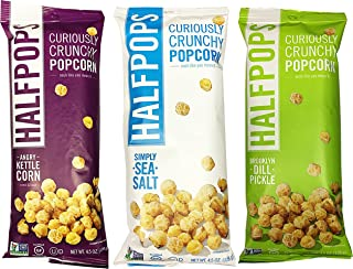 Halfpops Gluten Free Non-GMO Curiously Crunchy Popcorn Variety Pack of 3 (4.5 Ounce) Brooklyn Dill Pickle, Simply Sea Salt, and Angry Kettle Corn