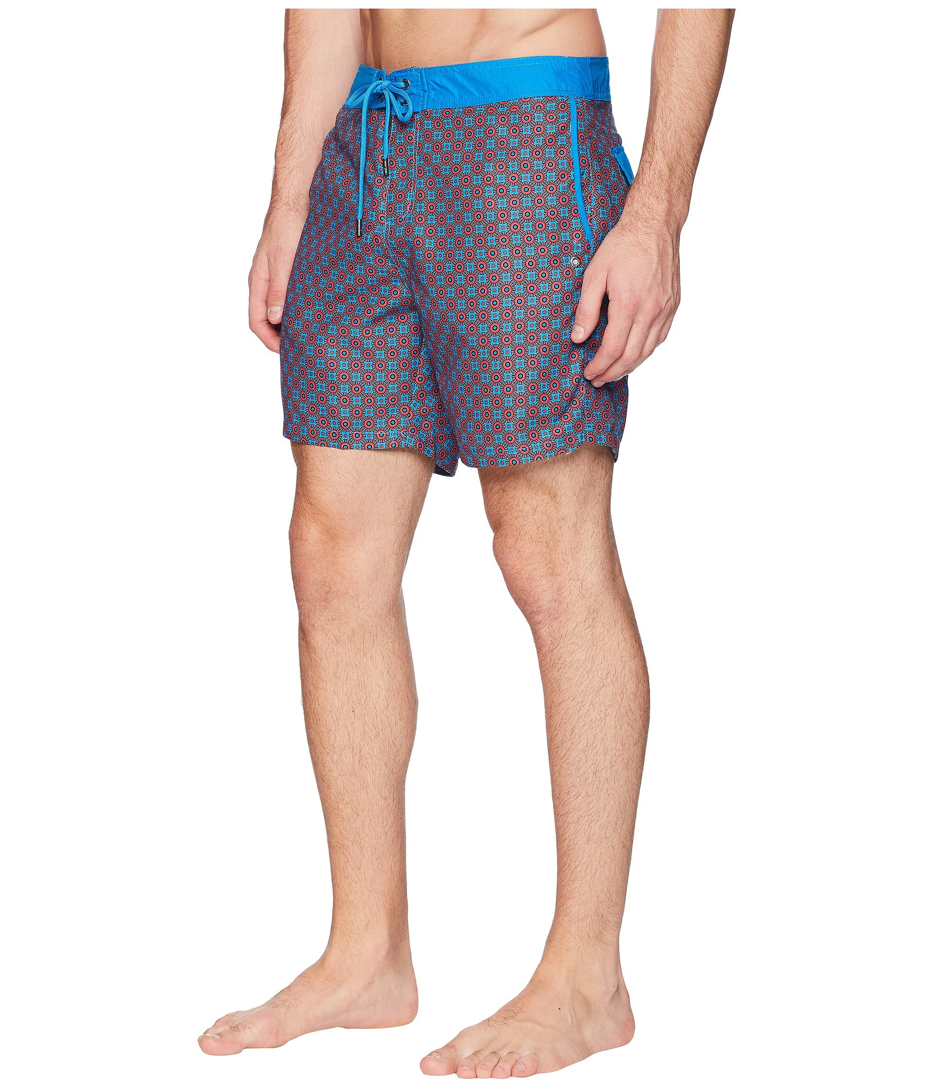 Fixed Waist Boardshorts Swim Modern Red Circles Printed Mr axSEtvqpwx