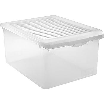 Tatay 1152301 - Caja de Almacenamiento con Tapa de plástico, 35 l, 51,2 x 37,7 x 26,5 cm, Transparente: Amazon.es: Hogar