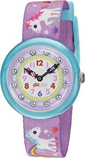 Kids' Sunny Hours Quartz Polyester Strap, Purple, 14...