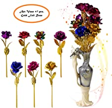 Decorative Vase with Gold Foil Roses Durable Resin Flower Vase Set Decor, Rustic Decorated Dining Table Centerpiece Vases Home Accents for Living Room, Bedroom, Kitchen & More