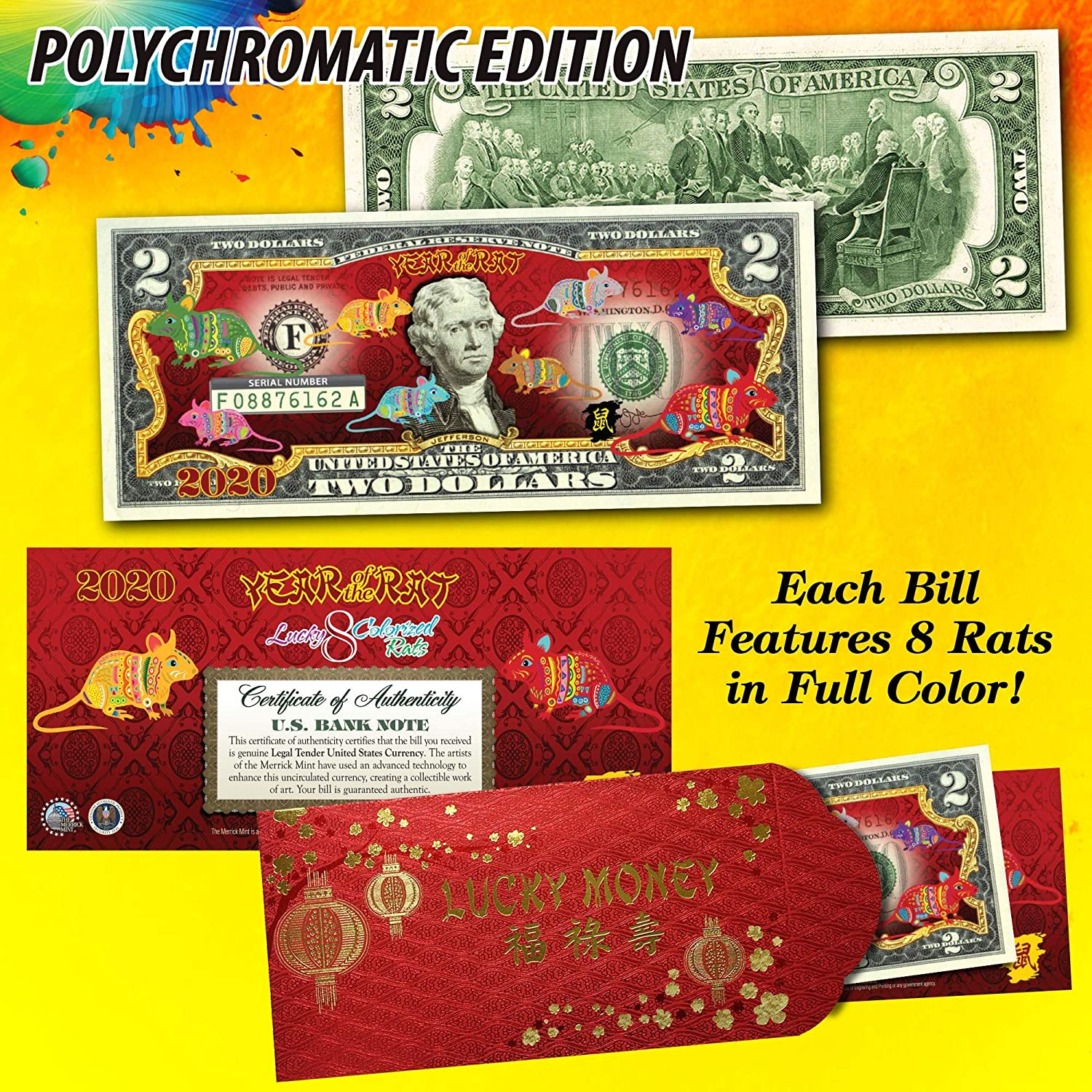 Bombing free shipping 2020 CNY Lunar Chinese New Year Rat The Polychromatic 8 35% OFF Rats of