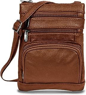 Womens Genuine Leather Cross Body Handbag Purse Messenger Bag with Multi-Pockets, Adjustable Strap