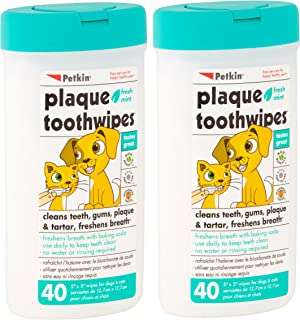 Petkin Plaque Toothwipes Fresh Mint 2 Packs of 40 wipes - Cleans teeth, gums, plaque & tartar, freshens breath. Tooth wipe...