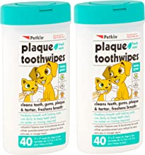 Petkin Plaque Toothwipes Fresh Mint 2 Packs of 40 Wipes - Cleans Teeth, Gums, Plaque & Tartar, freshens Breath. Tooth Wipe for cat or Dog.
