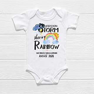 Rainbow Baby Bodysuit, IVF Miracle Baby, PERSONALIZED Custom Pregnancy Announcement Reveal IVF Warrior After Every Storm There is a Rainbow