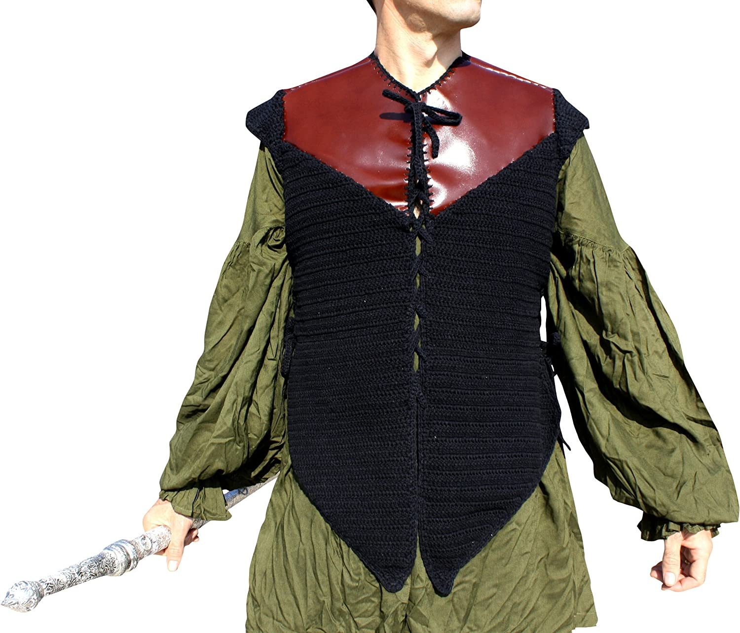 Svenine Crochet Cotton Pirate Doublet Shirt with Thick Leather Shoulder Sections