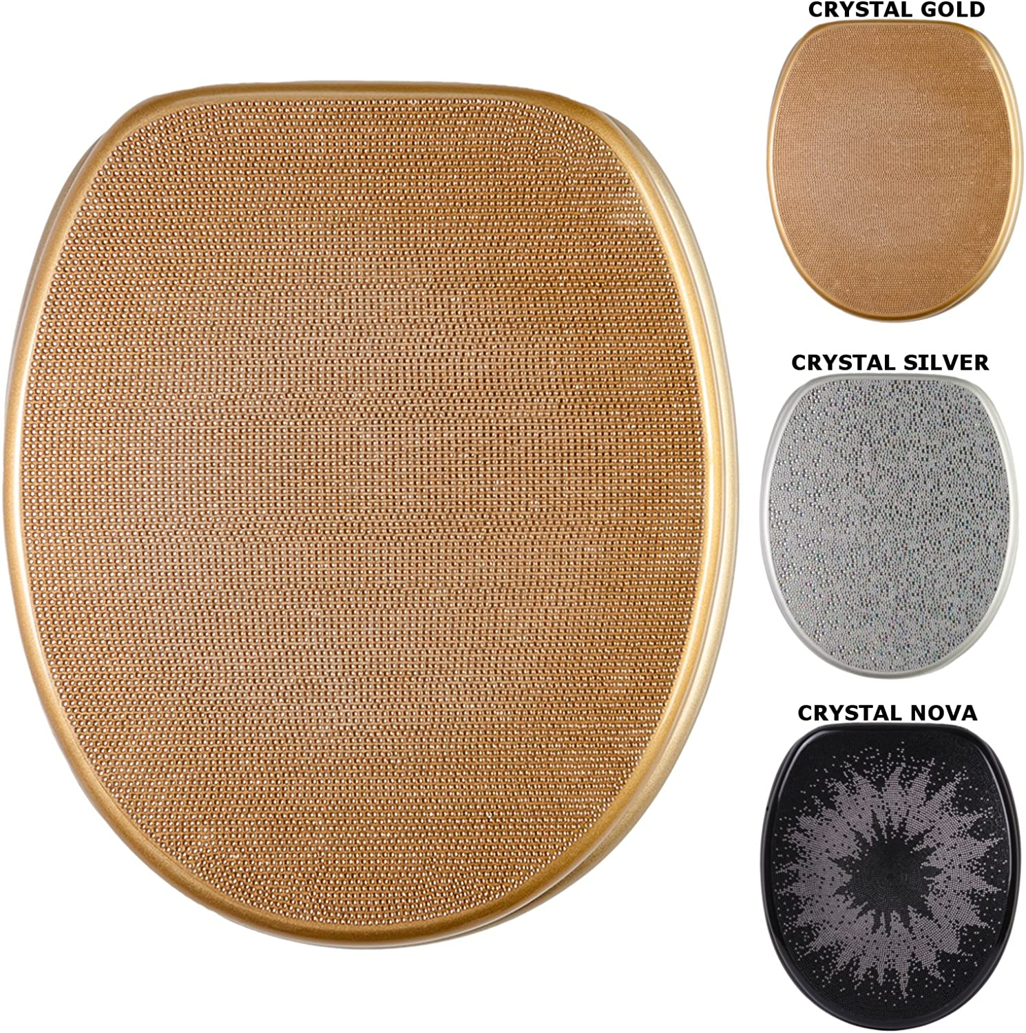 Soft Close Toilet Seat   High-Quality surface   Stable Hinges   Easy to mount (Crystal gold)