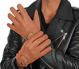 Full Fingers Biker Brown Gloves - Adult Real Leather Motorcycle Gloves
