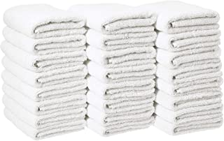 AmazonBasics Cotton Hand Towels, White – Pack of 24