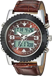 TIMETECH Men's Analog/Digital Multi-Function Weekend Sport Watch with Leather Wrist Band