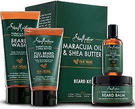 Shea Moisture Complete Beard Kit | All Natural Ingredients | Maracuja Oil & Shea Butter | Beard Balm | Beard Conditioning Oil | Beard Wash | Beard Detangler | Gift Box