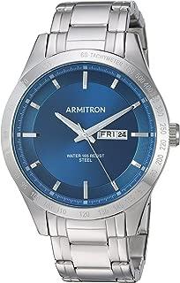 Armitron Men's 20/5174NVSV Day/Date Function Silver-Tone Bracelet Watch