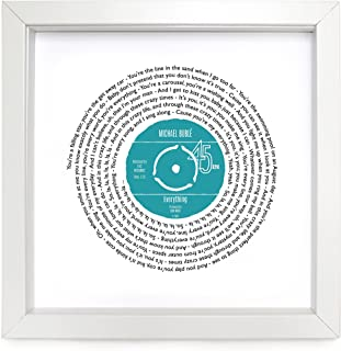 Michael Buble Everything Personalised Song - Vinyl Record Print of First Dance or Favourite Song - fully framed WHITE box 9.5 inch frame