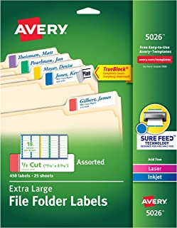 Avery Extra-Large File Folder Labels in Assorted Colors for Laser and Inkjet Printers with TrueBlock Technology, 15/16 inches x 3-7/16 inches, Pack of 450 (5026)