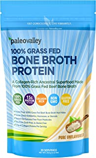 Paleovalley: 100% Grass Fed Bone Broth Protein Powder - Collagen-Rich Ancestral Superfood - 30 Servings - 15g Protein Per ...
