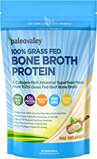 Paleovalley: 100% Grass Fed Bone Broth Protein Powder - Unflavored, Add to Anything - 30 Servings, 15G Protein Per Serving - Collagen Rich Superfood - 100% Grass Fed Beef - Non GMO - Gluten Free