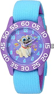 DISNEY Boys Puppy Dog Analog-Quartz Watch with Nylon Strap, Blue, 16 (Model: WDS000425