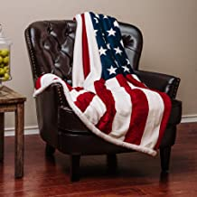 Chanasya Patriotic US Flag Print Sherpa Throw Blanket - Super Soft Ultra Plush Lightweight Microfiber Cozy Warm for Couch Bed Sofa - Great Gift for Veteran Friend Men Women Proud American House -50x65