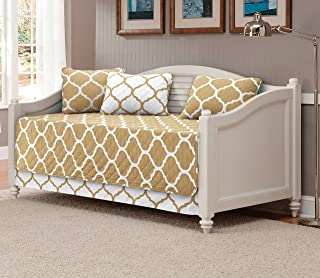 Mk Collection 5pc DayBed Modern Elegant Bedspread Cover Set Geometric Contemporary Pattern Taupe/White Quilted New