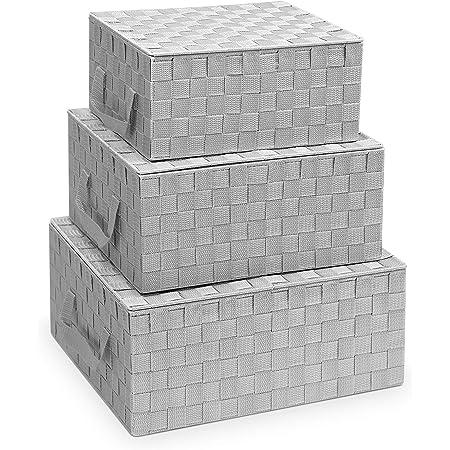 Navaris 3X Panier de Rangement Tressé - Lot de 3X Boîte Empilable avec Couvercle - Corbeille Empilable pour Linge Accessoires Salle de Bain Chambre