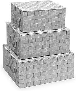 Navaris 3X Panier de Rangement Tressé - Lot de 3X Boîte Empilable avec Couvercle - Corbeille Empilable pour Linge Accessoi...