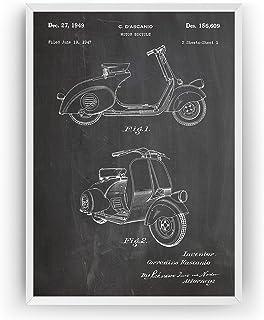 Vespa Scooter 1949 Patent Print - Moped Motorbike Motorcycle Póster Con Diseños Patentes Decoración de Hogar Inventos Cart...