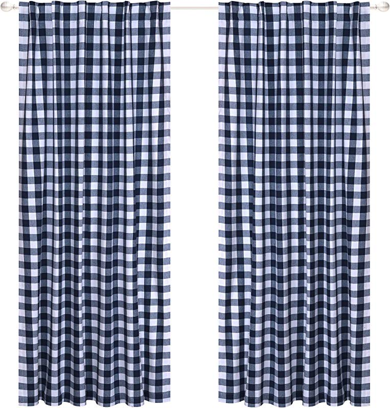 CottonLin 2Pack Buffalo Check Tab Top Reverse Curtain Panels 50x96 Navy White