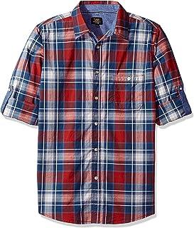 LEE Men's Long Sleeve Stretch Button Down Shirt, Spice Orange, Medium