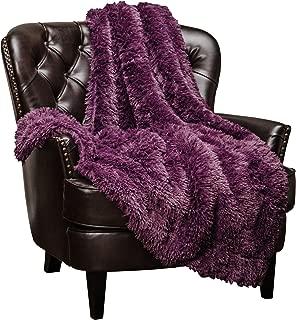 Chanasya Super Soft Shaggy Longfur Throw Blanket | Snuggly Fuzzy Faux Fur Lightweight Warm Elegant Cozy Plush Sherpa Microfiber Blanket | for Couch Bed Chair Photo Props -(50x65)- Purple Aubergine