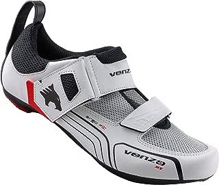 Venzo - Zapatillas de Ciclismo para Hombre (triatlón, Compatible con Shimano SPD SL, Color Blanco)
