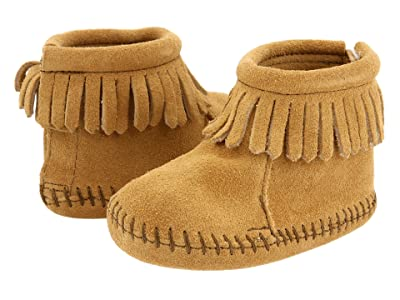 Minnetonka Kids Suede Back Flap Bootie (Infant/Toddler) (Tan Suede) Kids Shoes