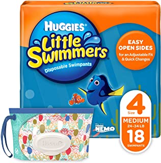 Huggies Little Swimmers Disposable Swim Diapers, Swimpants, Size 4 Medium (24-34 lb.), 18 Ct, with Huggies Wipes Clutch 'N' Clean Bonus Pack (Packaging May Vary)