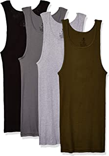 Hanes Mens 392DA4 FreshIQ ComfortSoft Dyed Tagless Tanks 4-Pack Tanks Underwear - Multi