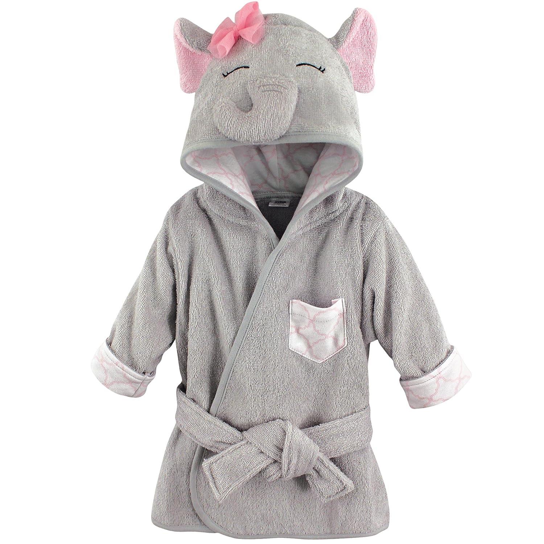 Hudson Baby Unisex Baby Cotton Animal Face Bathrobe, Pretty Elephant, One Size