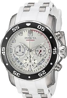 Invicta Pro Diver Reloj de cuarzo de acero inoxidable con correa de poliuretano, blanco, 25 (Modelo: 20290)