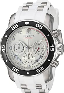 Invicta Men's Pro Diver Stainless Steel Quartz Watch with Polyurethane Strap, White, 25 (Model: 20290)